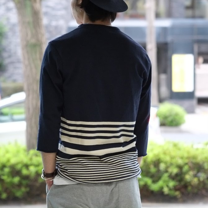 FLISTFIA(フリストフィア) 3/4 Sleeve Border T-Shirts -NAVY x Off White - (10)