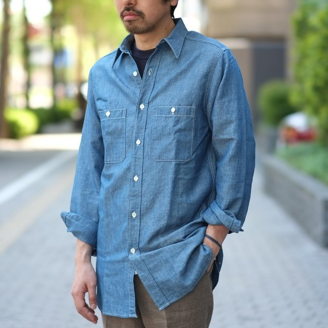 【30% OFF SALE】【2017 SS】7 × 7 / seven by seven ( セブン バイ セブン ) CHAMBRAY SHIRT  - ONE WASH -  #SS2017-7x7CBS(10)