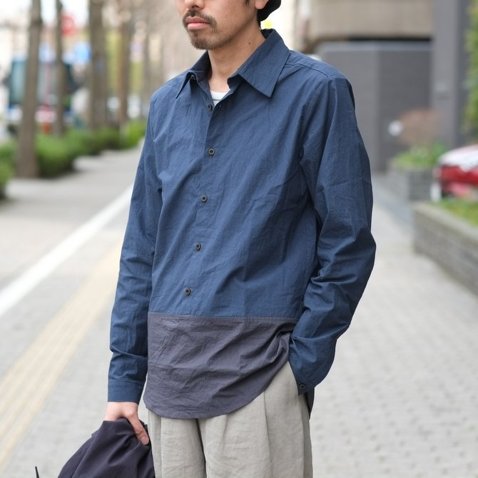 【30% off SALE】【2018 SS】FRANK LEDER(フランク リーダー) TRIPLE WASHED THIN COTTON 2 COLOR SHIRT -BLUE/NAVY-  #0216018(10)