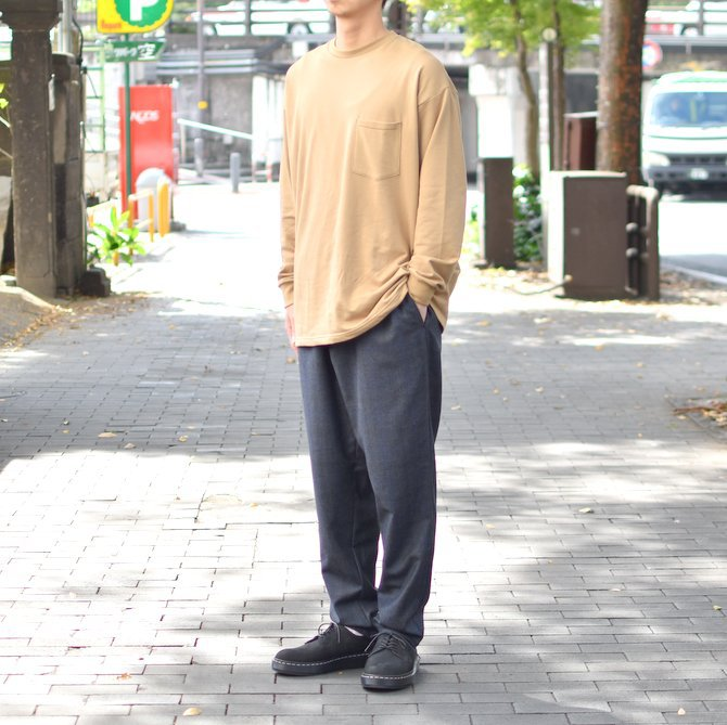 【2018 AW】 Graphpaper (グラフペーパー) L/S Pocket Sweat Tee -BEIGE- #GM183-70078(10)