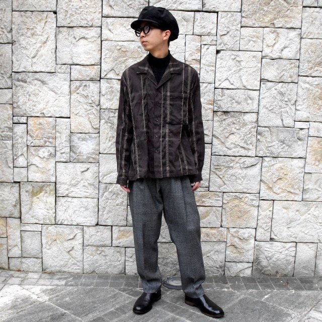 YOKE(ヨーク)/BIG PLAID OPEN COLLAR SHIRTS-BROWN- #YK19AW0062SH(10)