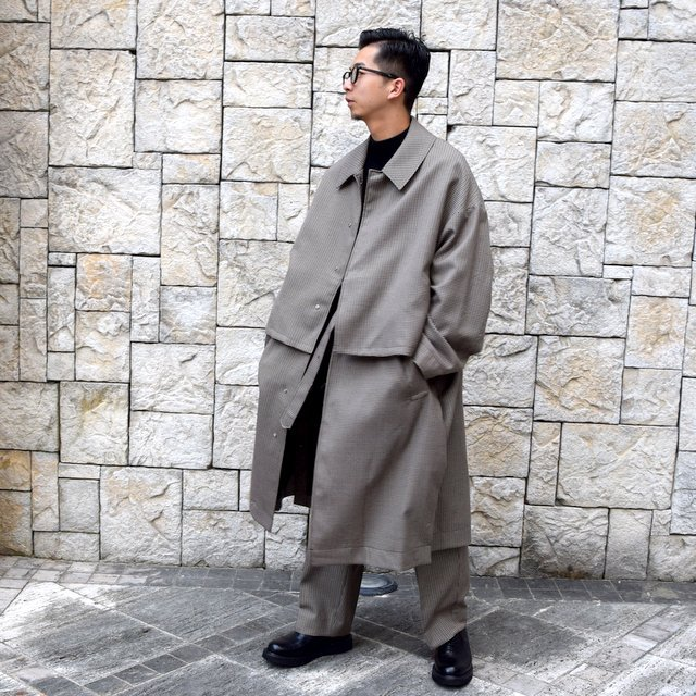 YOKE(ヨーク)/FIVE COLORS PLAID WOOL 3WAY BAL COLLAR SHARE COAT -BEIGE PLAID- #YK19AW0046C(10)
