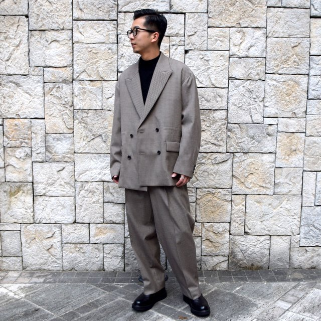 YOKE(ヨーク)/FIVE COLORS PLAID WOOL LOOSE DOUBLE BREASTED JACKET -BEIGE PLAID- #YK19AW0047J(10)