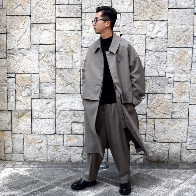 YOKE(ヨーク)/FIVE COLORS PLAID WOOL 1TUCK WIDE TROUSERS -BEIGE PLAID- #YK19AW0048P(10)