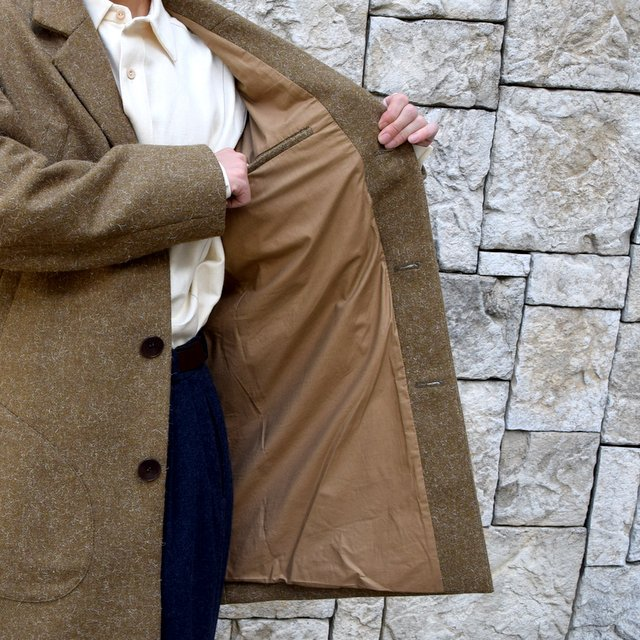 【30% off sale】FRANK LEDER(フランクリーダー) /DOG WOOL SINGLE BREASTED COAT -KHAKI- #0721014(10)