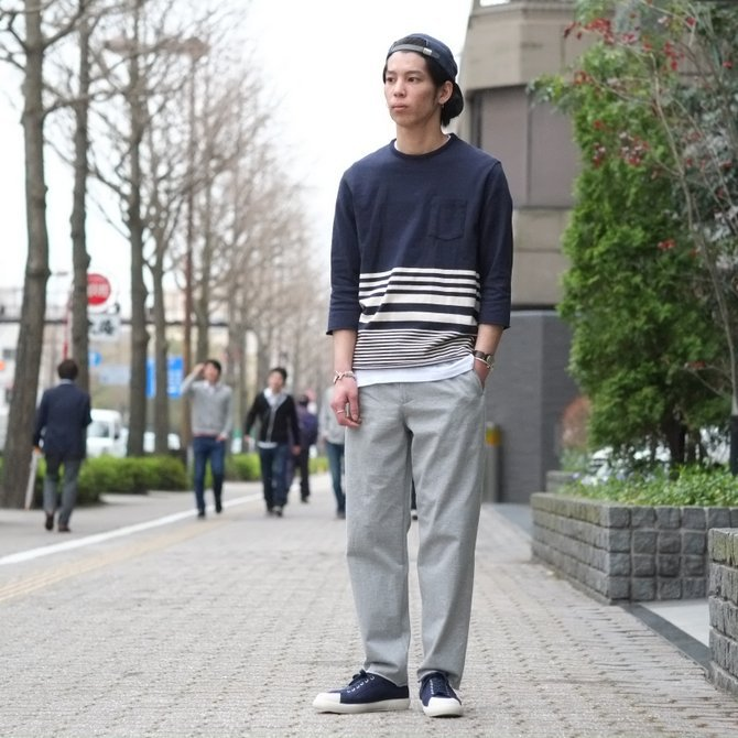 FLISTFIA(フリストフィア) 3/4 Sleeve Border T-Shirts -NAVY x Off White - (11)