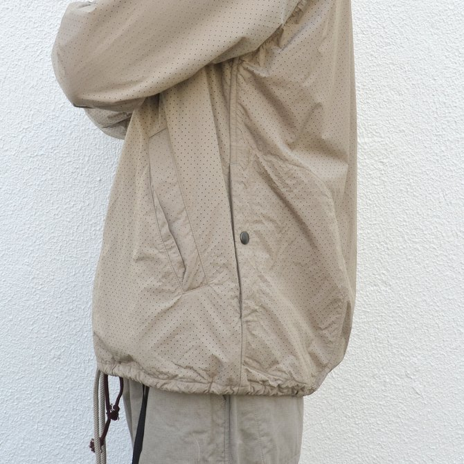 【40% off sale】ts(s) (ティーエスエス) Perforated Nylon Taffeta Cloth Coach Jacket -(32)Gray Beige- #TT36AJ02 (11)