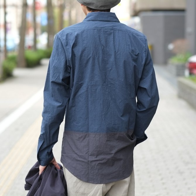【30% off SALE】【2018 SS】FRANK LEDER(フランク リーダー) TRIPLE WASHED THIN COTTON 2 COLOR SHIRT -BLUE/NAVY-  #0216018(11)