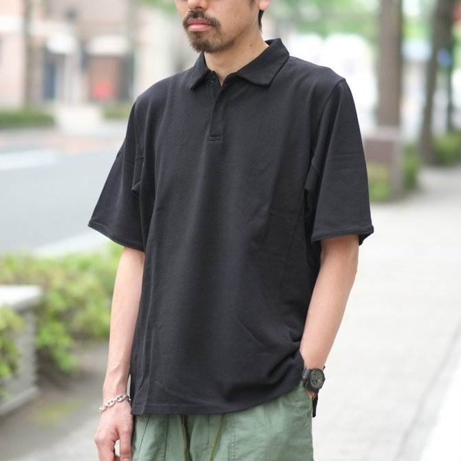 blurhms(ブラームス) / Seed Stitch Cubic Polo  -Black-  BHS-18SS024(11)