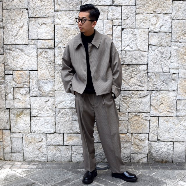 YOKE(ヨーク)/FIVE COLORS PLAID WOOL 3WAY BAL COLLAR SHARE COAT -BEIGE PLAID- #YK19AW0046C(11)