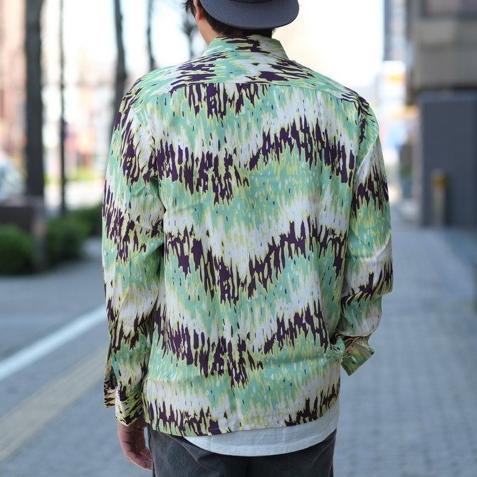 【30% off sale】【2017 SS】7 × 7 / seven by seven ( セブン バイ セブン ) PSYCHEDELIC SHIRT L/S - GREEN -  #SS2017-7x7PDL(12)