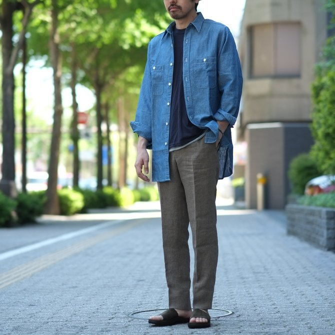 【30% OFF SALE】【2017 SS】7 × 7 / seven by seven ( セブン バイ セブン ) CHAMBRAY SHIRT  - ONE WASH -  #SS2017-7x7CBS(12)