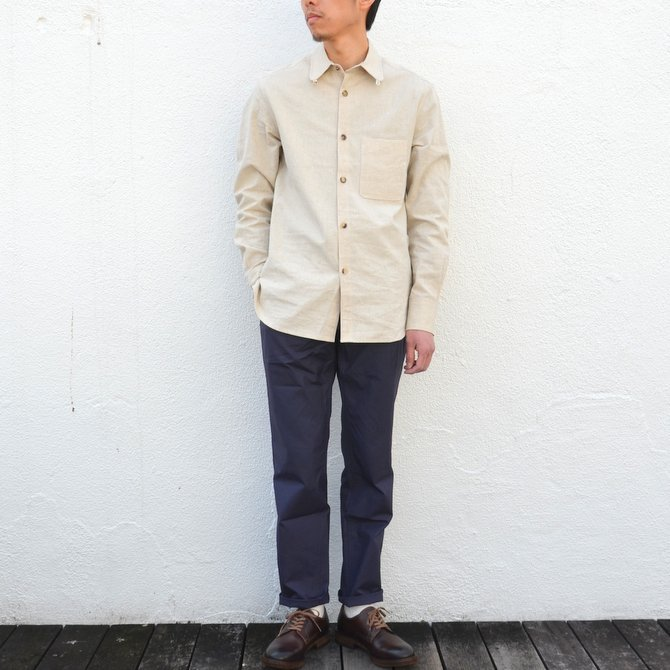【40% off sale】S.E.H KELLY(エス・イー・エイチ・ケリー) /  LANCASTRIAN DESERT COTTON KELLY COLLAR SHIRT-(80)BEIGE- #5116023(13)