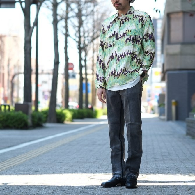 【30% off sale】【2017 SS】7 × 7 / seven by seven ( セブン バイ セブン ) PSYCHEDELIC SHIRT L/S - GREEN -  #SS2017-7x7PDL(13)