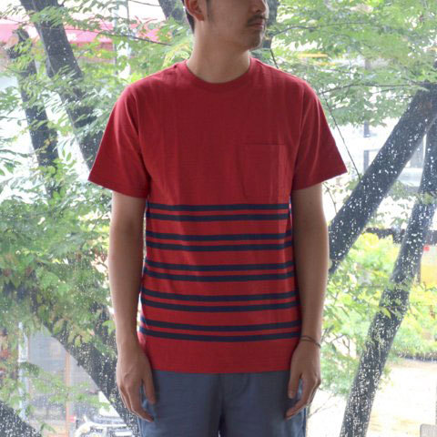 【30% off sale】SATURDAYS SURF NYC(サタデーズサーフ NYC) Randall City Stripe CUT AND SEW -RED- (1)