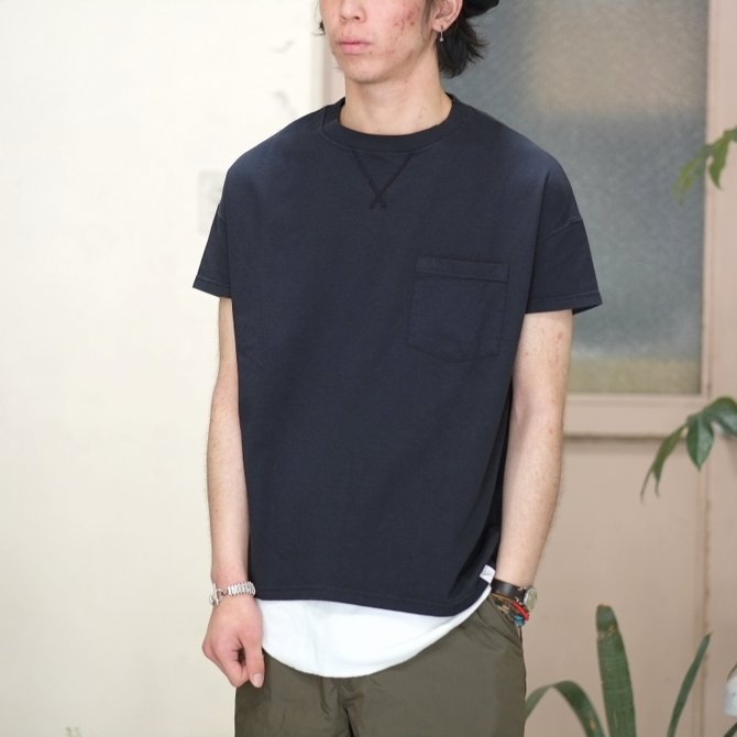 Cal Cru(カルクルー) C/N S/S RELAXED FIT反応染め(MADE IN USA)  -BLACK-【S】(1)