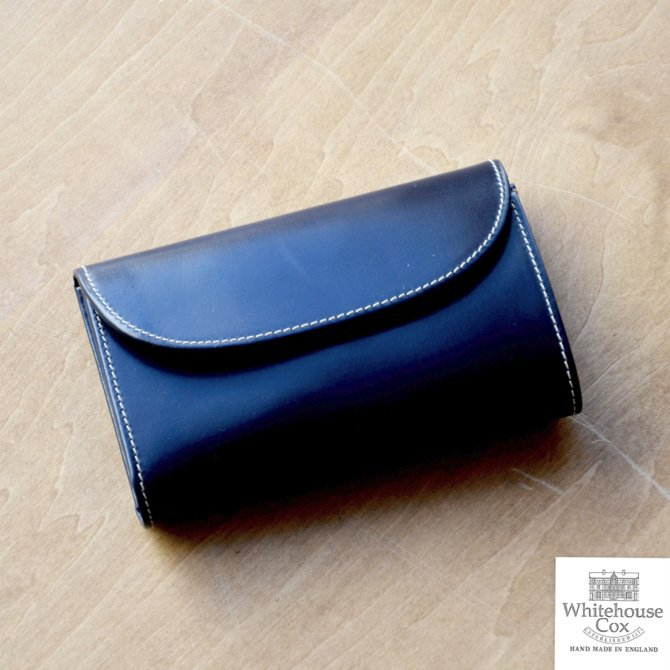 Whitehouse Cox (ホワイトハウスコックス)  3FOLD WALLET BRIDLE S7660 -NAVY-(1)