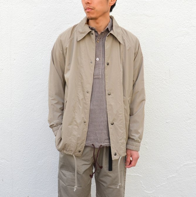 【40% off sale】ts(s) (ティーエスエス) Perforated Nylon Taffeta Cloth Coach Jacket -(32)Gray Beige- #TT36AJ02 (1)