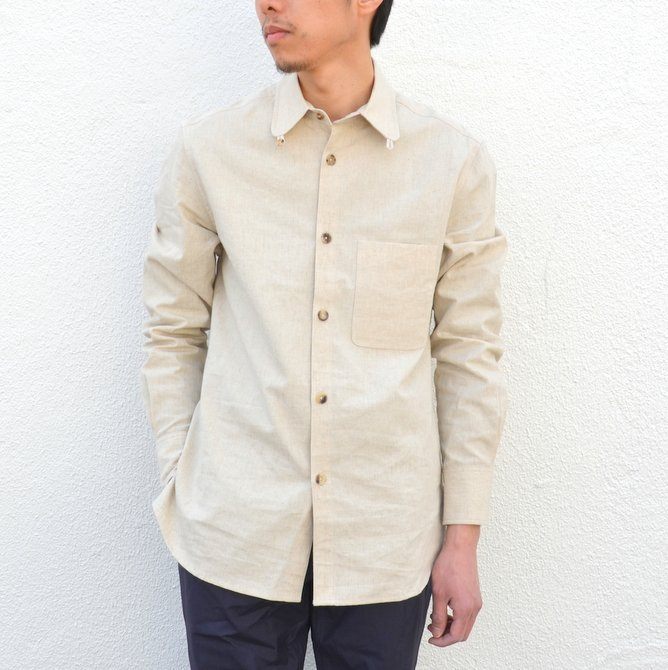 【40% off sale】S.E.H KELLY(エス・イー・エイチ・ケリー) /  LANCASTRIAN DESERT COTTON KELLY COLLAR SHIRT-(80)BEIGE- #5116023(1)