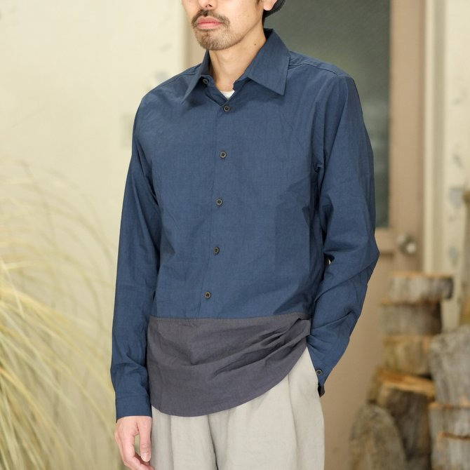 【30% off SALE】【2018 SS】FRANK LEDER(フランク リーダー) TRIPLE WASHED THIN COTTON 2 COLOR SHIRT -BLUE/NAVY-  #0216018(1)