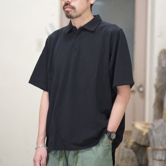 blurhms(ブラームス) / Seed Stitch Cubic Polo  -Black-  BHS-18SS024(1)