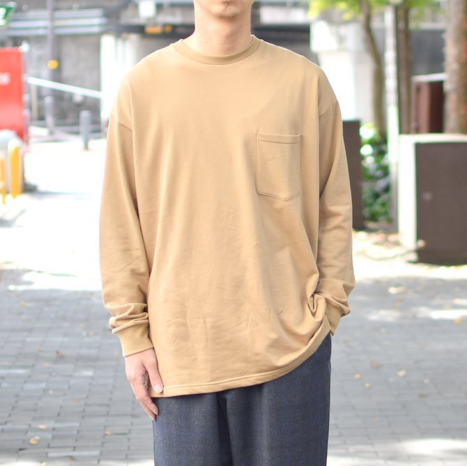 【2018 AW】 Graphpaper (グラフペーパー) L/S Pocket Sweat Tee -BEIGE- #GM183-70078(1)