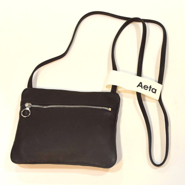 Aeta (アエタ)  DEER FLAT POUCH SHOULDER A -BLACK-#DA06(1)
