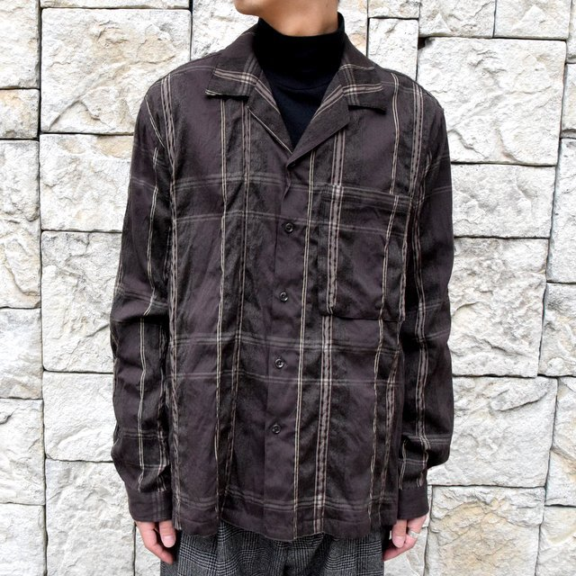 YOKE(ヨーク)/BIG PLAID OPEN COLLAR SHIRTS-BROWN- #YK19AW0062SH(1)