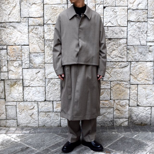 YOKE(ヨーク)/FIVE COLORS PLAID WOOL 3WAY BAL COLLAR SHARE COAT -BEIGE PLAID- #YK19AW0046C(1)