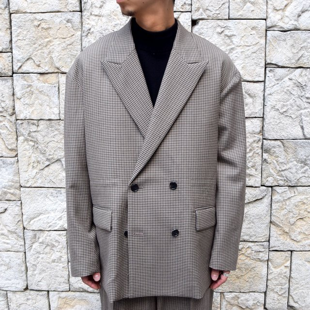 YOKE(ヨーク)/FIVE COLORS PLAID WOOL LOOSE DOUBLE BREASTED JACKET -BEIGE PLAID- #YK19AW0047J(1)