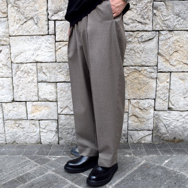 YOKE(ヨーク)/FIVE COLORS PLAID WOOL 1TUCK WIDE TROUSERS -BEIGE PLAID- #YK19AW0048P(1)