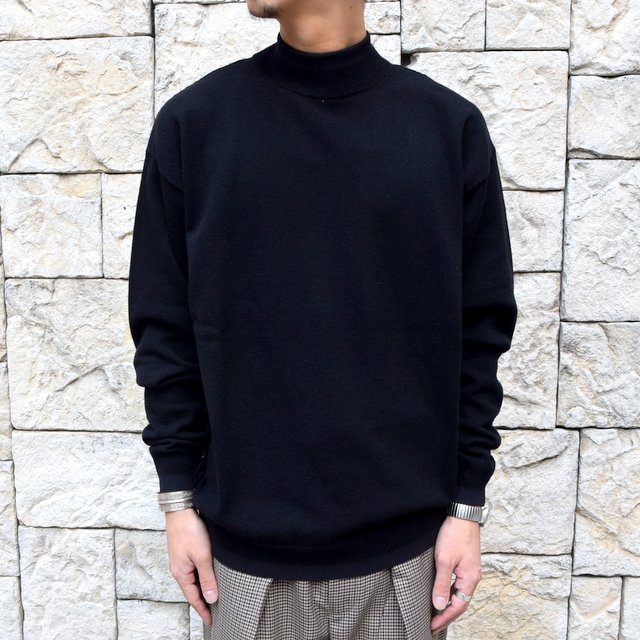 YOKE(ヨーク)/WOOL SABLE MOCK NECK L/S -BLACK- #YK19AW0075S(1)