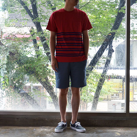 【30% off sale】SATURDAYS SURF NYC(サタデーズサーフ NYC) Randall City Stripe CUT AND SEW -RED- (2)
