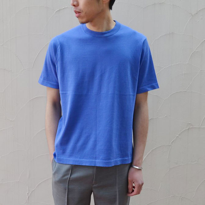 【40% off sale】niuhans(ニュアンス) Cotton Crew neck S/S Sweater -BLUE-(2)