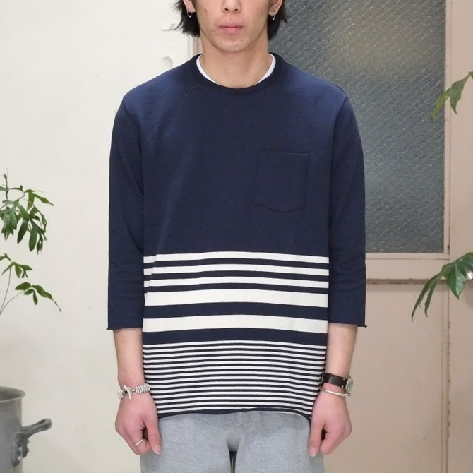 FLISTFIA(フリストフィア) 3/4 Sleeve Border T-Shirts -NAVY x Off White - (2)