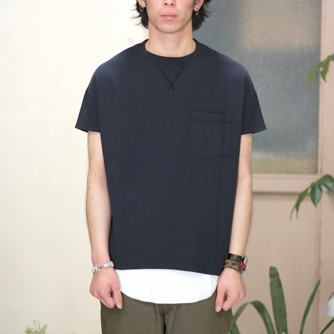 Cal Cru(カルクルー) C/N S/S RELAXED FIT反応染め(MADE IN USA)  -BLACK-【S】(2)