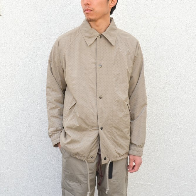 【40% off sale】ts(s) (ティーエスエス) Perforated Nylon Taffeta Cloth Coach Jacket -(32)Gray Beige- #TT36AJ02 (2)