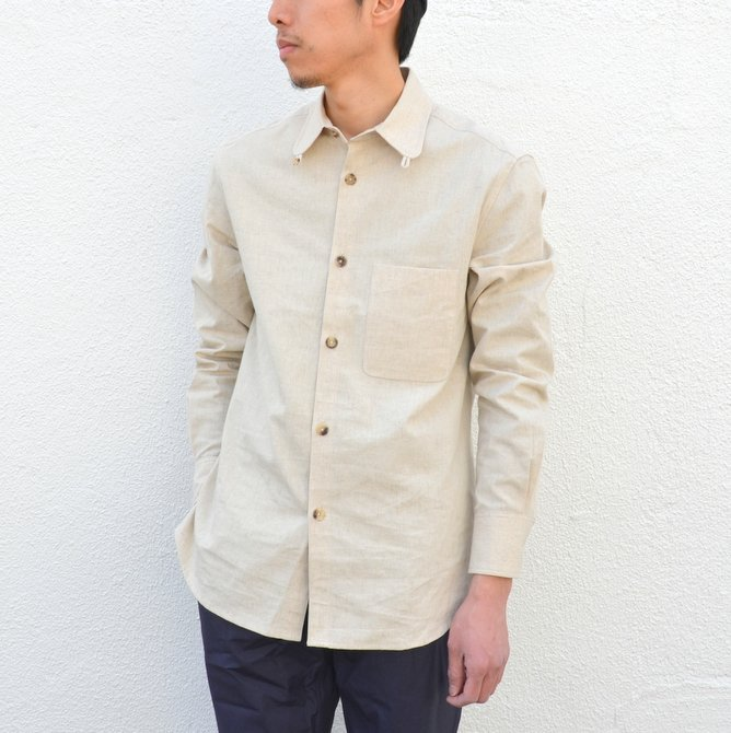 【40% off sale】S.E.H KELLY(エス・イー・エイチ・ケリー) /  LANCASTRIAN DESERT COTTON KELLY COLLAR SHIRT-(80)BEIGE- #5116023(2)