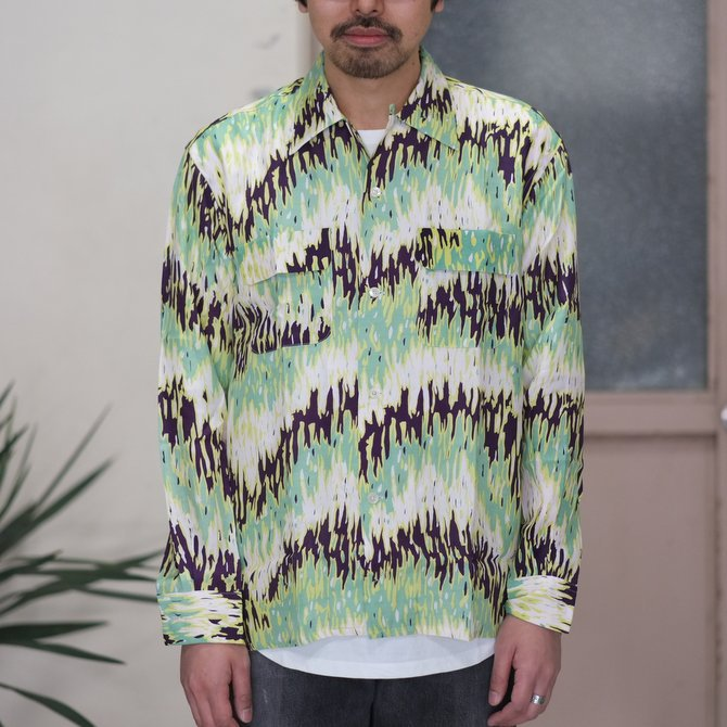 【30% off sale】【2017 SS】7 × 7 / seven by seven ( セブン バイ セブン ) PSYCHEDELIC SHIRT L/S - GREEN -  #SS2017-7x7PDL(2)
