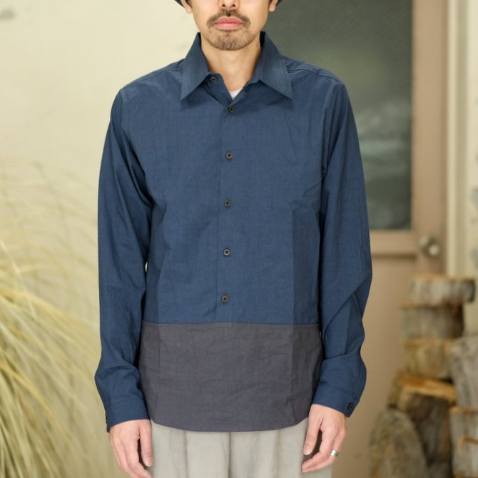 【30% off SALE】【2018 SS】FRANK LEDER(フランク リーダー) TRIPLE WASHED THIN COTTON 2 COLOR SHIRT -BLUE/NAVY-  #0216018(2)