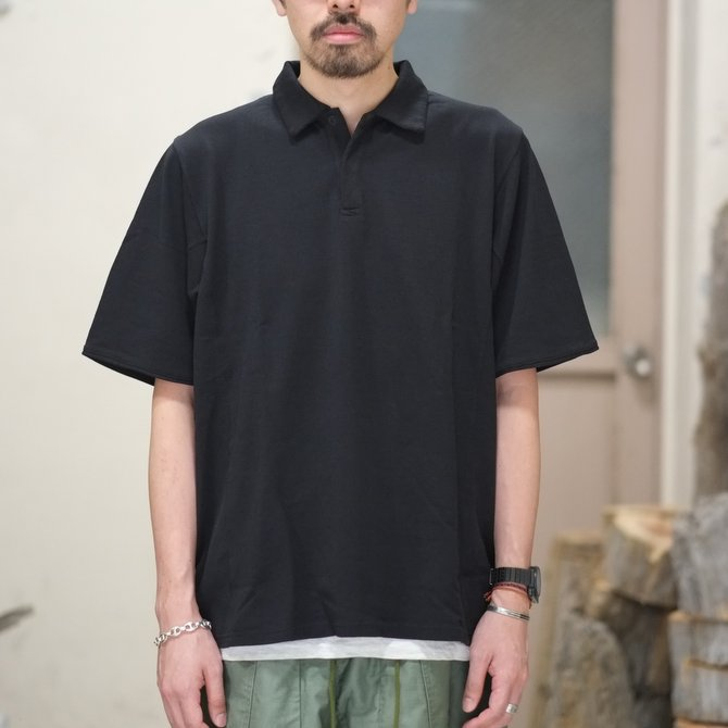 blurhms(ブラームス) / Seed Stitch Cubic Polo  -Black-  BHS-18SS024(2)