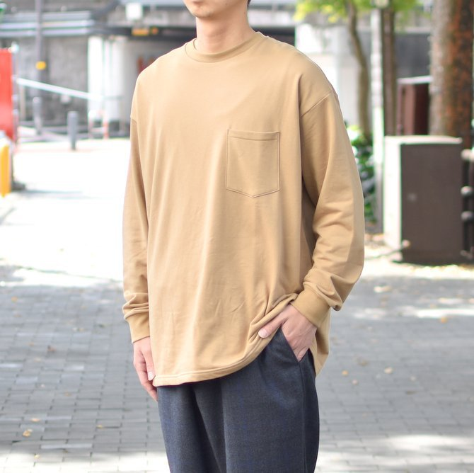 【2018 AW】 Graphpaper (グラフペーパー) L/S Pocket Sweat Tee -BEIGE- #GM183-70078(2)