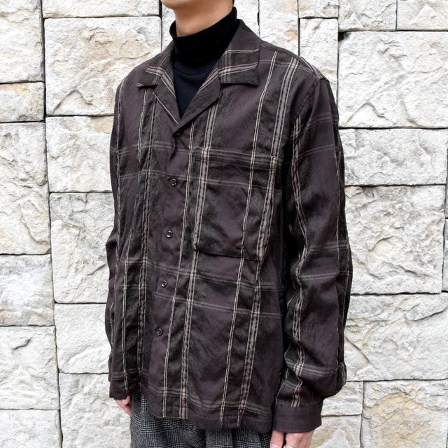 YOKE(ヨーク)/BIG PLAID OPEN COLLAR SHIRTS-BROWN- #YK19AW0062SH(2)