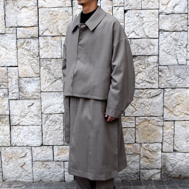 YOKE(ヨーク)/FIVE COLORS PLAID WOOL 3WAY BAL COLLAR SHARE COAT -BEIGE PLAID- #YK19AW0046C(2)