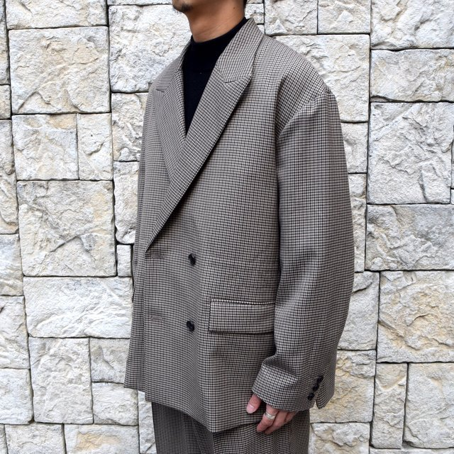 YOKE(ヨーク)/FIVE COLORS PLAID WOOL LOOSE DOUBLE BREASTED JACKET -BEIGE PLAID- #YK19AW0047J(2)