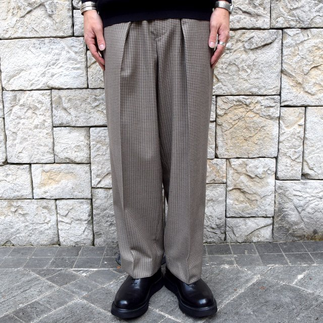 YOKE(ヨーク)/FIVE COLORS PLAID WOOL 1TUCK WIDE TROUSERS -BEIGE PLAID- #YK19AW0048P(2)