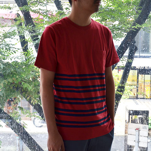【30% off sale】SATURDAYS SURF NYC(サタデーズサーフ NYC) Randall City Stripe CUT AND SEW -RED- (3)