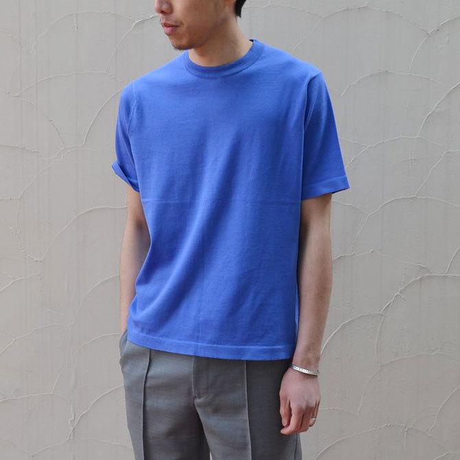 【40% off sale】niuhans(ニュアンス) Cotton Crew neck S/S Sweater -BLUE-(3)