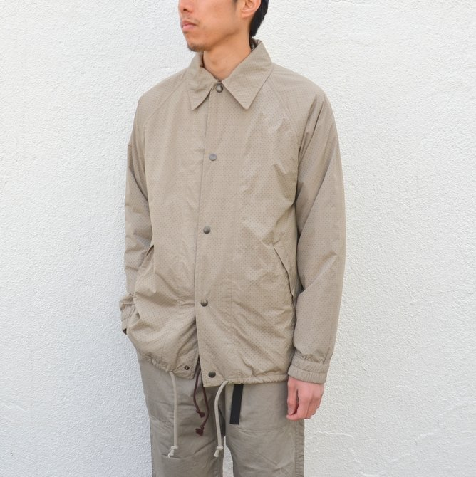 【40% off sale】ts(s) (ティーエスエス) Perforated Nylon Taffeta Cloth Coach Jacket -(32)Gray Beige- #TT36AJ02 (3)