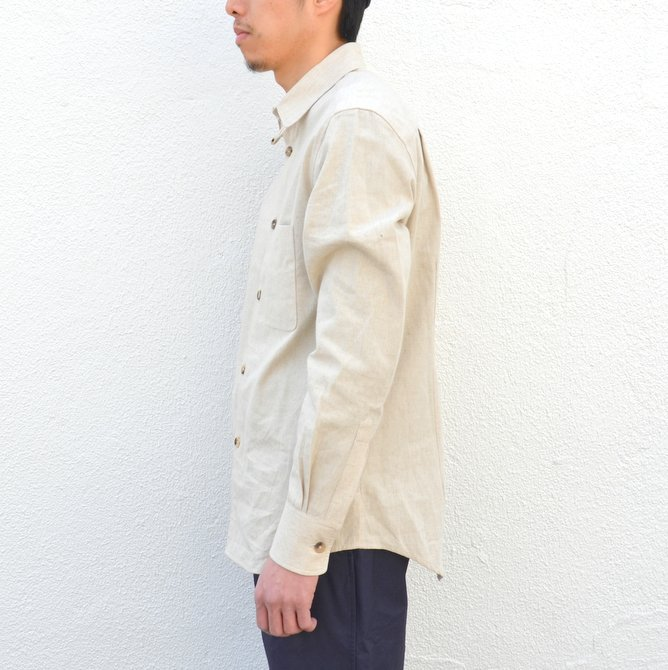 【40% off sale】S.E.H KELLY(エス・イー・エイチ・ケリー) /  LANCASTRIAN DESERT COTTON KELLY COLLAR SHIRT-(80)BEIGE- #5116023(3)